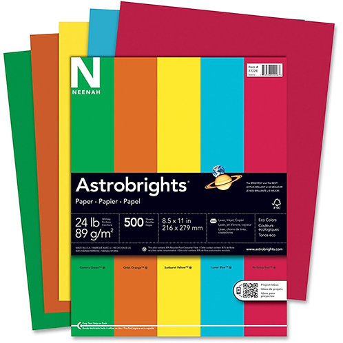 """Astrobrights Colored Paper Letter - 8.50"""" x 11"""" - 24 lb Basis Weight 500/Reams"""