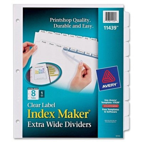 Avery Index Maker Extra-Wide Clear Label Dividers, White, 8-Tab Set