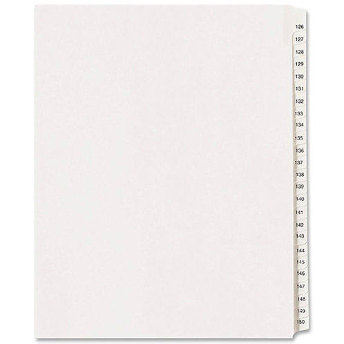 Allstate Style Legal Side Tab Dividers 125 to 150 - White - 25 / Set