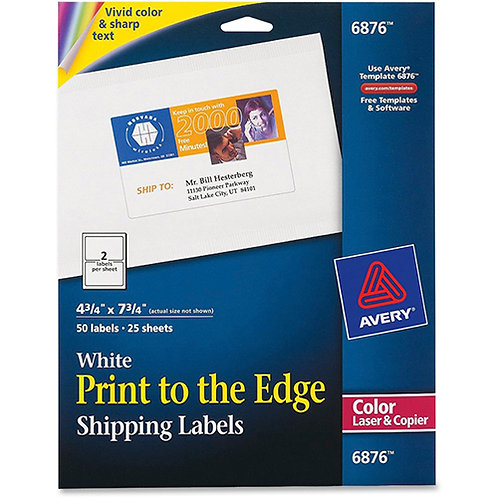 Shipping Labels for Color Laser Copier, 4-3/4 x7-3/4, 50/Pack, Matte White
