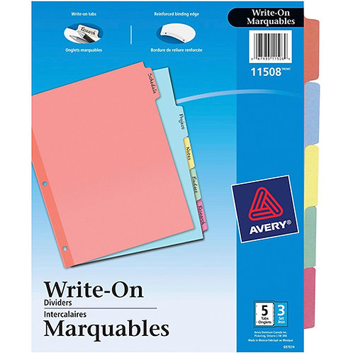 Avery Write-On Plain Tab Dividers