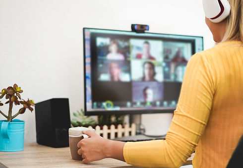 Woman utilizing Complete Office powerful web conferencing software.