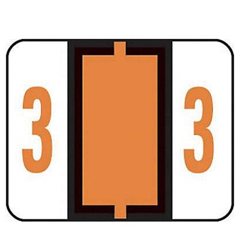 Smead Single Digit End Tab Labels, Number 3, Dark Orange, 500 per Roll
