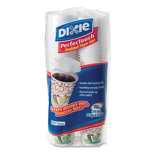 Dixie PerfecTouch Cup 10 oz - 50 / Pack - White - Hot Drink