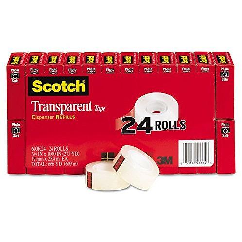 """Scotch Transparent Tape, 3/4"""" x 1000"""", 1"""" Core, Clear, 24/Pack"""