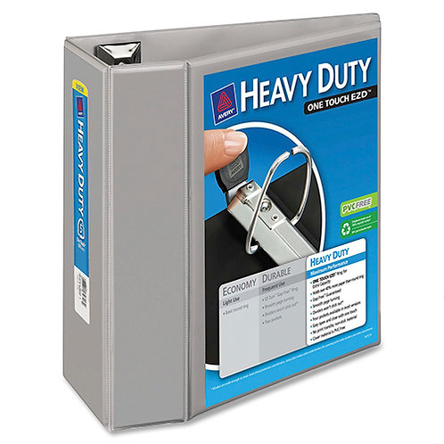 Avery Heavy-Duty View Binder with 5-Inch One Touch EZD Ring, Gray
