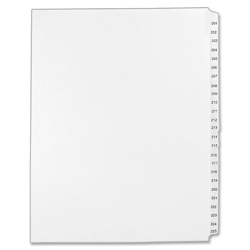 Allstate Style Legal Side Tab Dividers 201 to 225 - White - 25 / Set