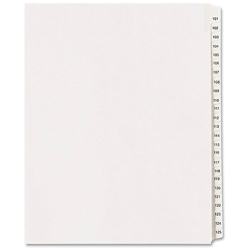 Allstate Style Legal Side Tab Dividers 101 to 125 - White - 25 / Set
