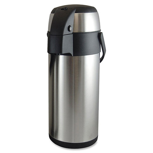 Genuine Joe High Capacity Vacuum Airpot 3.7 Quart (3.5 L) - Stainless Steel