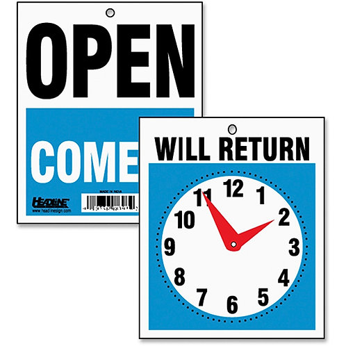 Reversible Open/Will Return Store/Business Sign with Clock Hands