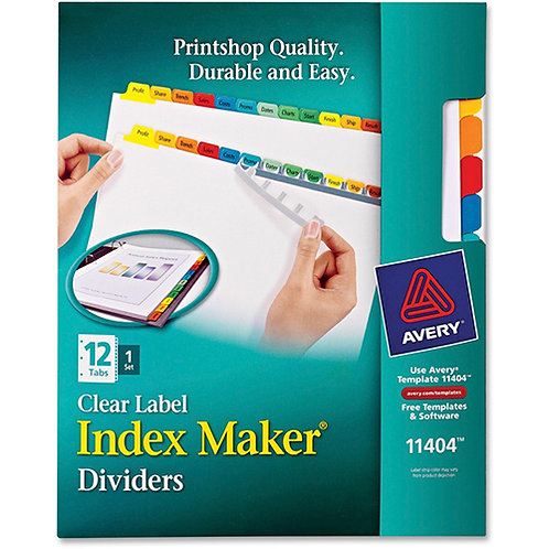 Avery Index Maker Clear Label Dividers, 12-Tab Set