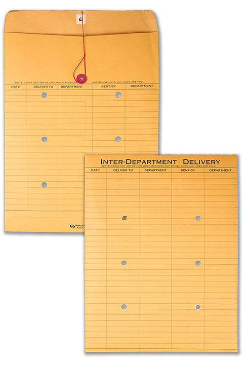 Quality Park Brown Kraft String & Button Interoffice Envelope, 10 x 13, 100/Case