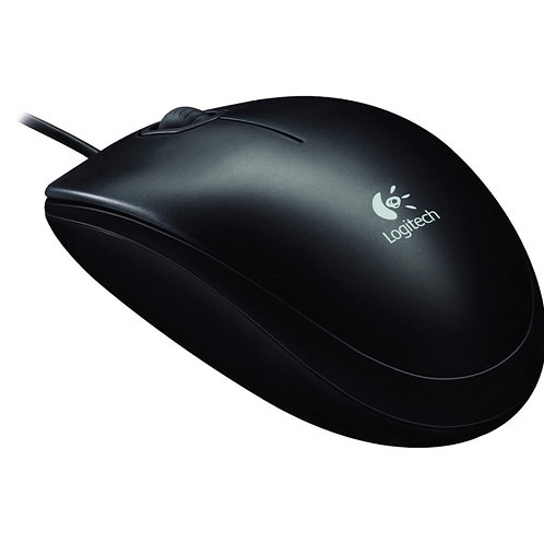 Logitech B100 Optical USB Mouse - Optical - Cable - Black - 1 Pack