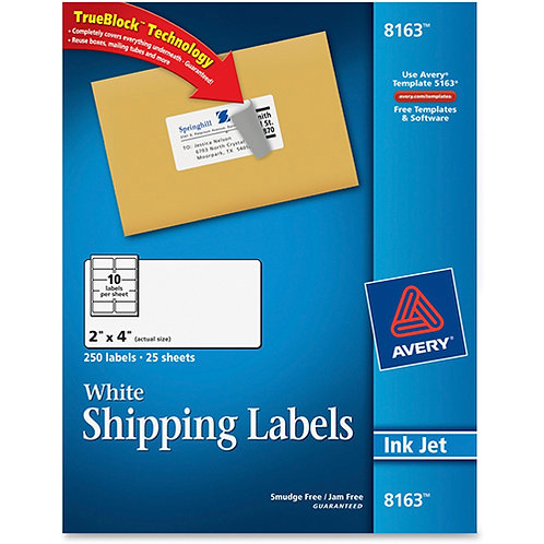 Avery Shipping Address Labels, Inkjet Printers, 250 Labels, 2x4 Labels