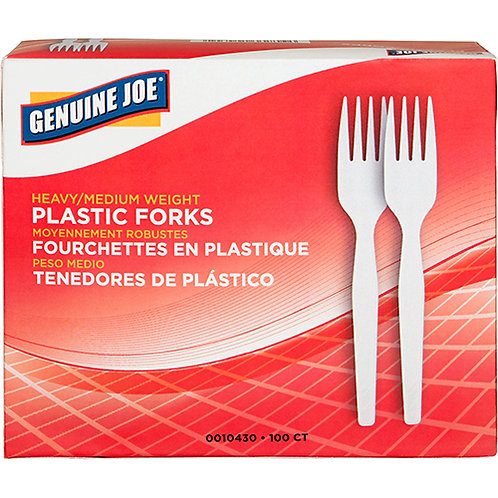 Genuine Joe Heavyweight White Plastic Forks - 100/Box - Polystyrene - White