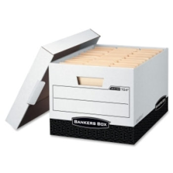 Bankers Box Max Storage Box, Legal/Letter, Locking Lid, White/Black (Case of 12)