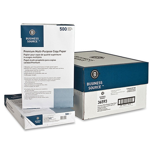 Business Source Copy Paper, 92 Brightness, 20lb, 8-1/2 x 14, White, 5000 Sheets