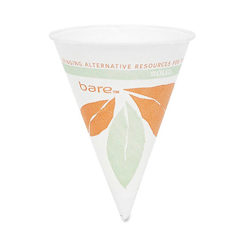 Solo Bare Dry Wax Paper Cup 4 oz - Cone - 200 / Pack - White - Paper