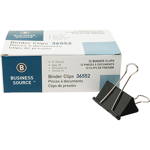 """Business Source Fold-back Binder Clips - Large - 2"""" Width - 1"""" Size Capacity - 1"""