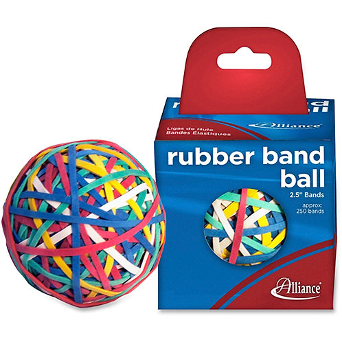 "Alliance Rubber Band Ball 2-1/2"" 250 Bands Assorted"