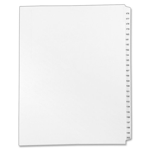 Allstate Style Legal Side Tab Dividers 176 to 200 - White - 25 / Set