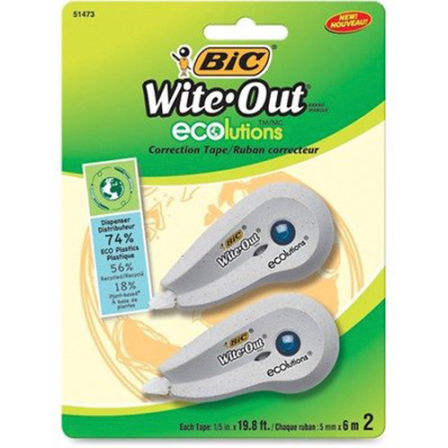 BIC Wite-Out Ecolutions Correction Tape 0.20 - 2/Pack