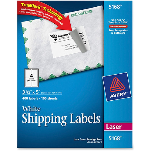 Avery Shipping Address Labels, Laser Printers, 400 Labels, 3-1/2 x 5