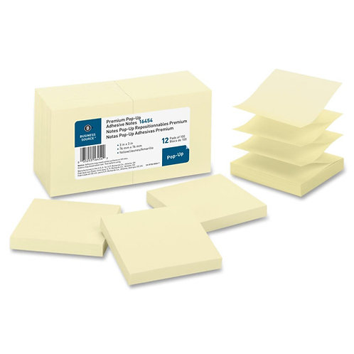 Business Source Pop-Up Adhesive Notes - 3 x 3 Inches - Pack of 12 Pads of 100