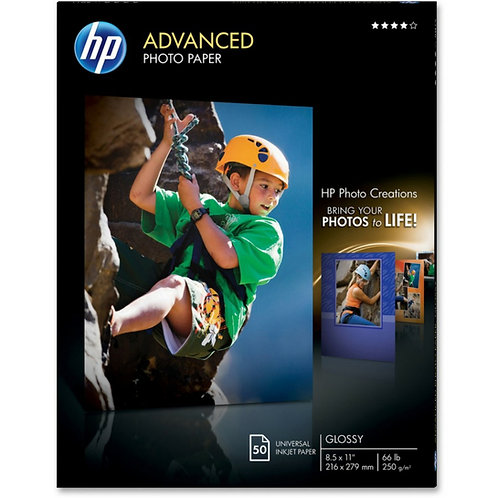 "HP Photo Paper - Letter - 8 1/2"" x 11"" - 66 lb Basis Weight - Glossy - 50 / Pack"
