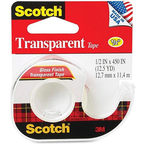 "Transparent Tape in Hand Dispenser, 1/2"" x 450"", Clear"
