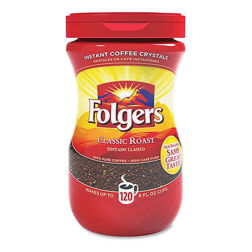 Folgers Classic Roast Instant Coffee Crystals Instant Regular - 8 OZ