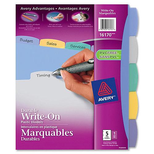 Avery  Write & Erase Big Tab Plastic Dividers, 5-Tab, Multicolor, Letter, 5/Set