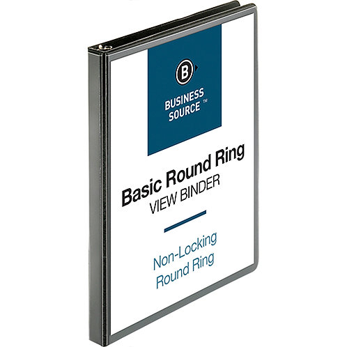 "Business Source Round-ring View Binder - 1/2"" Binder Capacity - Letter - 8 1/2"""