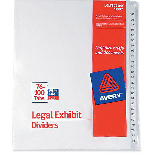 Avery-Style Legal Side Tab Dividers, 26-Tab, 76-100, Letter Size, White, 25 set