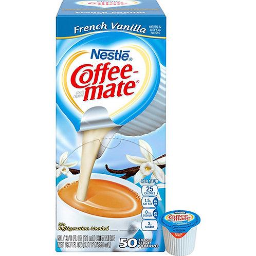 Liquid Coffee Creamer, French Vanilla Flavor .375 Oz. Individual Mini Cups