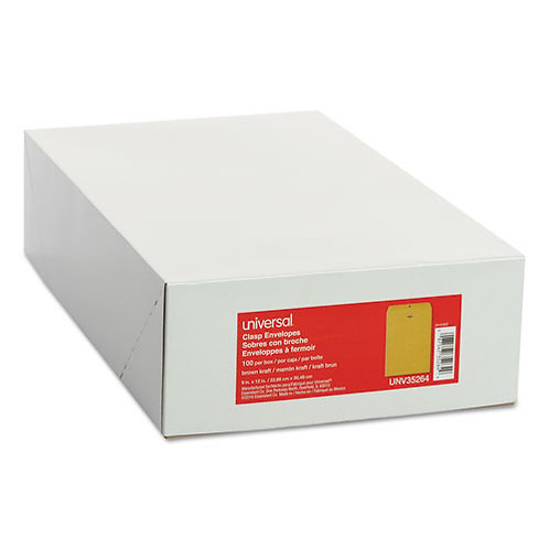 Kraft Clasp Envelope, Center Seam, 28lb, 9 x 12, Brown Kraft, 100/Box