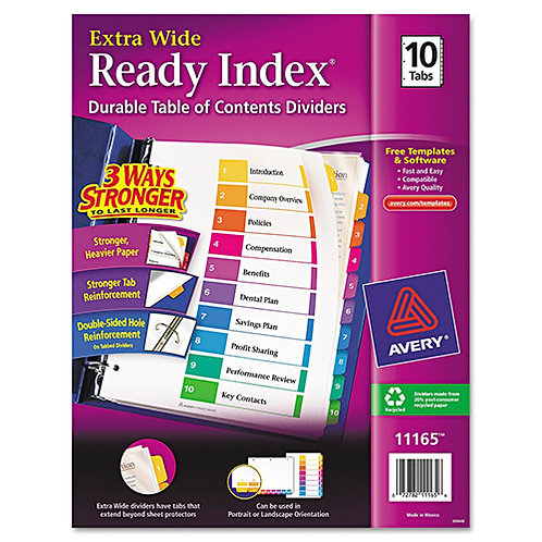 Avery Extrawide Ready Index Dividers, Laser/Ink Jet, 9.5 x 11 Inches, 1/Set