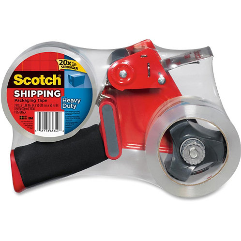 New-Scotch Packaging Tape Dispenser with Two Rolls of Tape, 1.88 x 54.6 yds.