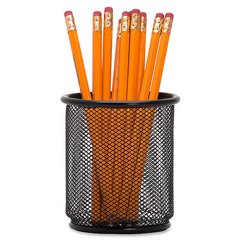 Lorell Black Mesh/Wire Pencil Cup Holder 3.5