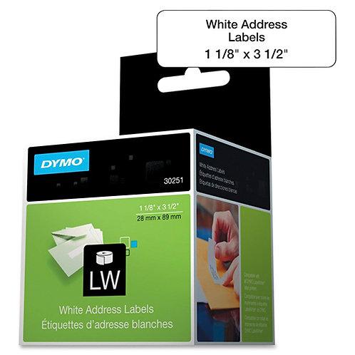 Dymo 30251 LabelWriter Address Label, 130/Roll, 260/Box, 3.50 x 1.12