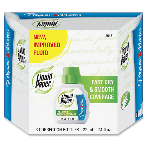Liquid Paper Fast Dry Correction Fluid, 22 ml Bottle, White, 3/Pack