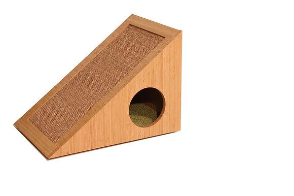İDA Tırmalama Panelli Kedi Evi -Doğal Bambu Kaplama