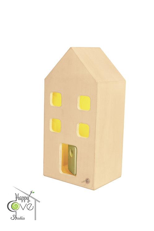 City Lights Mini | Wooden Lamp with White Finish | Beyaz Bitişli Ahşap Ev Lamba