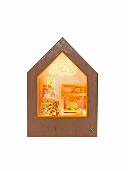 Welcome Baby Girl! | Wooden Story Light Box