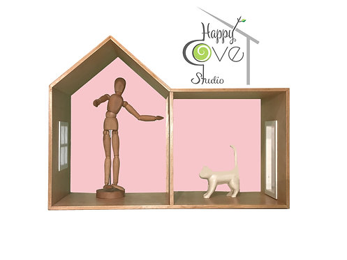 CHALET | Wooden Shelf / Play House in Pink | Ahşap Raf/ Oyun Evi