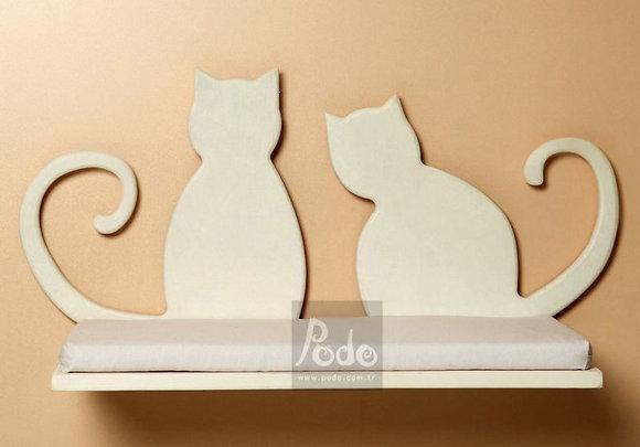 Pisi İki Kedili Kedi Rafı