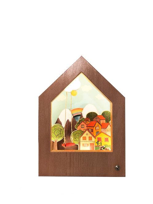 Happy Town | Wooden Story Lamp | Mutlu Kasaba | Hikayeli Ahşap Lamba