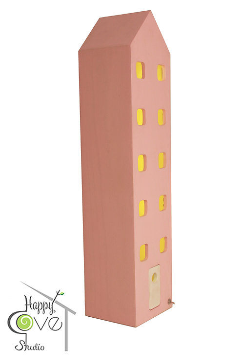 Apartment | Wooden Lamp with Pink Finish | Pembe Bitişli Ahşap Lamba