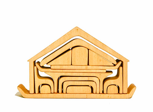 Wooden Waldorf Play House Set