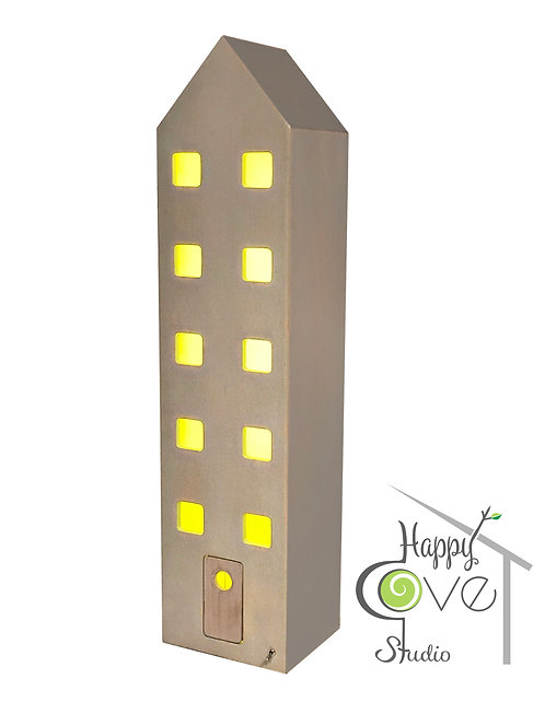 Apartment   Wooden Lamp with Neutral Gray Finish   Gri Bitişli Ahşap Ev Lamba